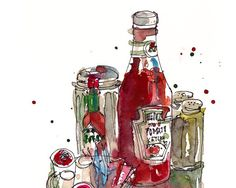 Food Art Condiments a study in red and green  by SketchAway, $23.00