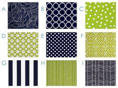 Custom Crib Bedding - Modern - Navy and Lime - Modern Baby Bedding Set - Navy Blue and Lime Green. $290.00, via Etsy.