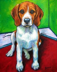 Beagle In Corner Painting by Dottie Dracos