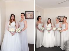 the bride standing with all her bridesmaids all fdressed ad ready for the deremony