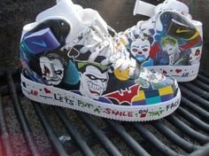 Batman Joker Custom Nike Sneakers. I must have these!!!  omg my 6yo would lose it with these!!!