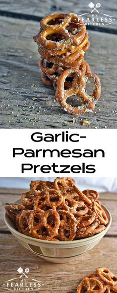 Garlic-Parmesan Pretzels from My Fearless Kitchen. Need a fast snack that's easy to make and that tastes good? Try this recipe for Garlic-Parmesan Pretzels. Only 4 ingredients and 6 minutes to snack time!