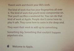 You start working at Apple.