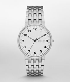SKAGEN Stainless Steel White Dial Bracelet Link Watch