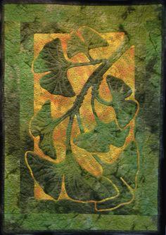 Ginko by Nancy Lee Chong using batiks, reverse needle turn appliqué, December 2010. Pacific Rim Quilt Co.