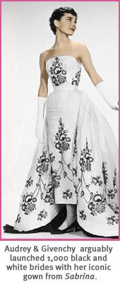 "Audrey Hepburn's Givenchy black & white wedding gown from ""Sabrina"" Keywords: #weddings #jevelweddingplanning Follow Us: www.jevelweddingplanning.com  www.facebook.com/jevelweddingplanning/"