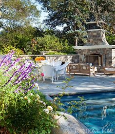 Terrific poolside, fireside gathering spot ...