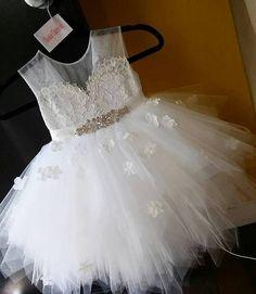 Diamond white flower girl dresses