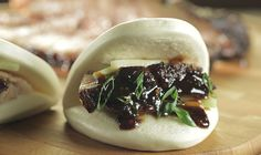 This smoked pork belly is served Asian style in steamed buns with Hoisin barbecue sauce. Recipe from Episode 203 of Steven Raichlen's Project Smoke.