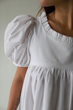 Empire Style Cotton Dress with puffy sleeves, Bohemian Organic Cotton Dress, Wedding Organic Cotton dress, Bridesmaid Cotton dress 21st Dresses, Bridesmaid Dresses, Puffy Sleeves Blouse, Vintage Girls Dresses, Empire Style, Pajamas Women, School Fashion, Cotton Dresses, Beautiful Outfits