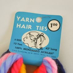 Package of Yarn Hair Ties many colours. I remember wearing these in my hair.
