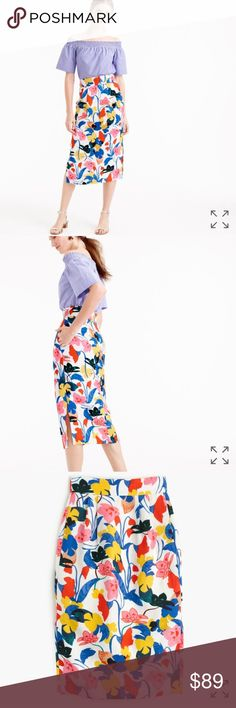 💐J. CREW💐PIN TUCK MORNING FLORAL SKIRT💐 PRODUCT DETAILS: The ultimate summer skirt😍with pockets!—in a vibrant primary-colored floral. The secret to its brilliance is our soft lyocell-linen fabric that beautifully holds color. Designed to flatteringly fit at the smallest part of the waist, the silhouette also features side slits for the perfect amount of moveability. So basically, it's a dream skirt for work and weekends. Lyocell/linen.•Back zip.•Lined.•Dry clean.I💐J. CREW💐PIN TUCK…