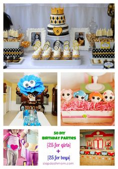 50 #Birthday Party Ideas (25 for Boys + 25 for Girls), Plus Links to 75 other Birthday Party Ideas from @Jalyn {iheartnaptime.net} & #sixsistersstuff