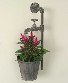 Industrial Metal Water Spigot Wall Planter - *FREE SHIPPING*