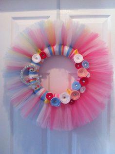 monogram baby girl nursery wreath