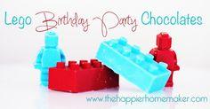 DIY Lego man and Lego Brick Chocolates-perfect for Lego Birthday Parties via The Happier Homemaker