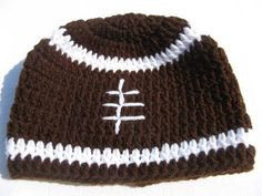 crochet video tutorial for football beanie.  Infant- Size G Hook, Babies  Size H  hook, Toddler Size I hook.  To crochet a beanie for an older child use a size J hook and a medium weight worsted yarn. For adults you can use a size K hook and a heavier weight of yarn (maybe even a chunky weight. The pattern is the same for all sizes. Only the siz...