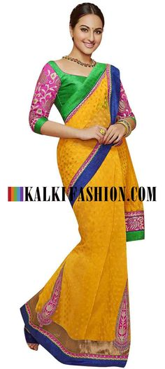Buy Online from the link below. We ship worldwide (Free Shipping over US$100) http://www.kalkifashion.com/yellow-saree-embellished-in-zari-along-with-contrast-border.html