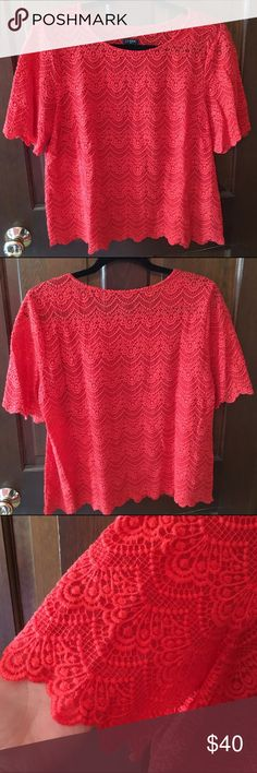 J. Crew Factory Scalloped Lace Top J. Crew Factory Scalloped Lace Top in a coral red color. Worn once or twice with a tank underneath (tank not included).  Beautiful lace detail, perfect for spring weather! J. Crew Tops
