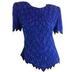 Cobalt Blue Sculpted Beaded and Sequined Blouse circa 1980s Dorothea's Closet Vintage Clothing