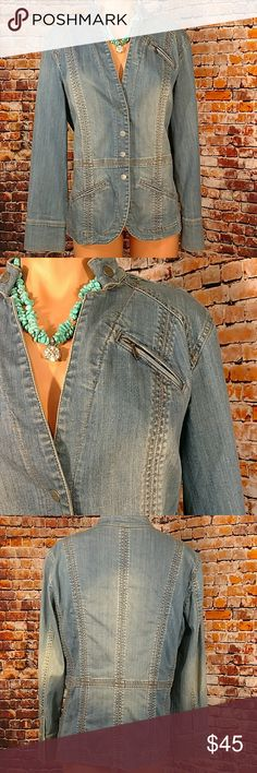 Denim Jean Jacket Cute detailed Coldwater Creek denim blue jean jacket. Fitted 2 pocket front with one chest pocket. Snap front, collar and cuffs. Size 12. Not blind. 42 inch chest 26 inches long. Coldwater Creek Jackets & Coats Jean Jackets