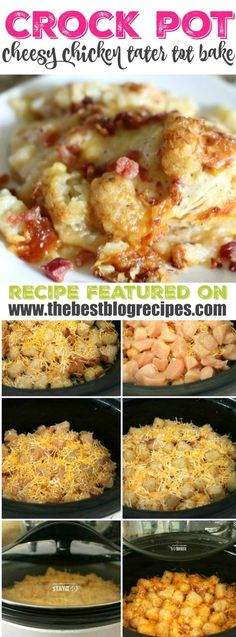 This Crock Pot Cheesy Chicken, Bacon, & Tater Tot Bake recipe from Real Housemoms is a delicious and super easy meal to put together that your whole family will really love! It's cheesy, bacon-y, and the Crock Pot does all of the hard work for you.