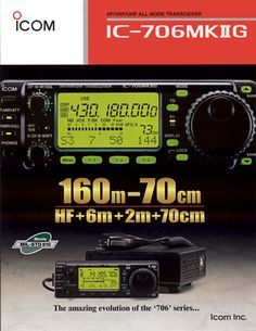 """ICOM IC-706MkIIG Transceiver - one of the most popular transceivers in amateur radio history; This all-mode transceiver provides 100 watts on HF and 6 meters, and 50 watts on VHF 2 meters, plus 20 watts on UHF 440 MHz. It receives from 30 kHz to 199 MHz and from 400 to 470 MHz. It features a removable, remoteable, front panel that allows control of all features. Compact size: (6.56"""" x 2.28"""" x 7.88"""")"""