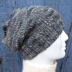 CHARLEY SLOUCH Hat PATTERN Mans Beanie Easy/ Knit in by RomeoRomeo, $5.90