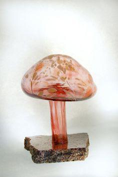 red blown glass mushroom