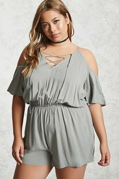 Forever 21+ - A woven romper featuring an open shoulder design, cami straps, short sleeves, a V-neckline with a lace-up front, back button closure with a keyhole cutout, and an elasticized waist.