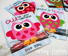 Darling owl valentines - Printable - the owls branch is the treat, sour licorice rope - Cute!