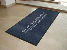 Customised mats supplied for builders David Wilson Homes UK.  Classic grey and white coloured mats.