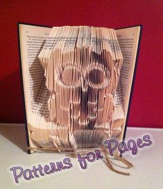 Book folding pattern for OWL on a branch by PatternsForPages on Etsy