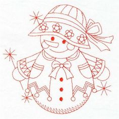 Premium Embroidery Embroidery Design: Redwork Snowman 3.80 inches H x 3.79 inches W