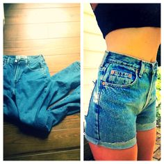 DIY goodwill jeans - make it the length u want---doing thisss! I need some mom jeans circa 93 to make this look complete!