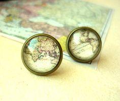 Vintage World Map Stud Earrings