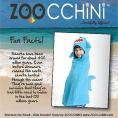 Shark Fun Fact from Sherman the Shark #Zoocchini #HoodedTowels #Towels #Kids #SummerCamp #Beach #Pool #KidsFashion
