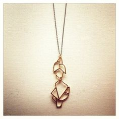 Black and Gold Open Geo pendant necklace