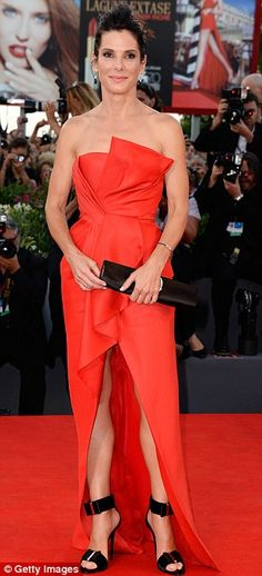 Sandra Bullock in a J. Mendel gown and Roger Vivier clutch & strap sandals @ 2013 Venice Film Festival premiere of Gravity
