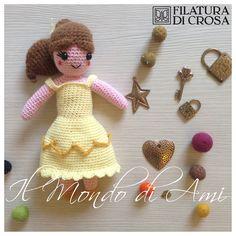 """Principessa Bella di """"La bella e La Bestia"""" Disney  #amigurumi #handmade #crochet realizzata con filato """"Zarina"""" Filatura di Crosa"""