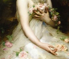 ethereal painting of girl holding flowers in sheer dress
