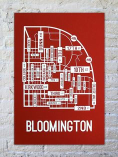 "Indiana University - Bloomington Hoosiers, Indiana street map screen print hand-printed on premium 100# cover stock paper. Paper color is ""Electric Red"" and the ink is ""White"". Print is 13"" x 19"". Looks great in a dorm room or office. Great gifts for college students. This poster is printed by hand using a squeegee to pass ink through a silkscreen. Each one is unique and may contain very minor imperfections. Gifts for Dad"