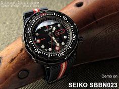 MiLTAT G10 Military Blue, Red & Beige watch straps demo on SEIKO SBBN023