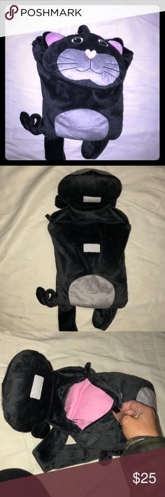 Children's travel backpack Really cute and convenient children's travel pack. Cat head is users as pillow, underneath head is zipper pocket with pink blanket   Velcro adjustable straps. Bags Baby Bags