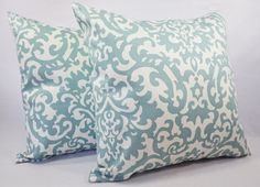 Damask Pillow Covers - Spa Blue Throw Pillows - Blue Pillow Cover - Blue Couch Pillow - Decorative Pillow Covers - Sofa Pillow