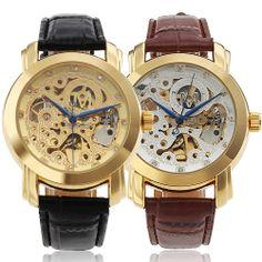 Skeleton Dial Golden Steel Bezel Men Automatic watch