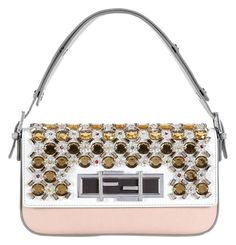 fad5f4cfe5 Fendi Baguette Jeweled White/Gray/Multi Smooth Leather Shoulder Bag 54% off  retail