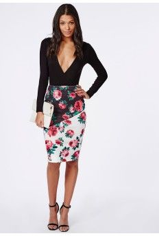 Contrast Rose Print Midi Skirt White