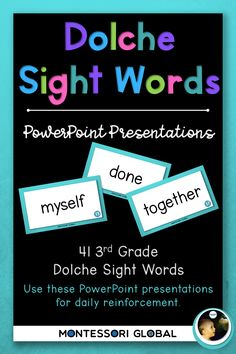 A collection of Third Grade Dolche High Frequency Words in the following formats: Posters for wall display. Students can use the posters to daily practice reading the Dolche sight word lists individually or as a class or group. Montessori sight word reading cards PowerPoint presentations designed to be used as daily Dolche sight word reading practice using a projector or interactive whiteboard. Sight Word Spelling, Sight Words List, Spelling Lists, Word Reading, Reading Practice, Powerpoint Presentations, Interactive Whiteboard, High Frequency Words, Presentation Design