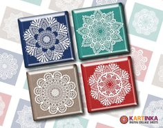 Instant Download CHROCHET SNOWFLAKES - 1x1 inch and 1.5x1.5 inch Tiles Digital Collage Sheet Printable Download for pendants magnets